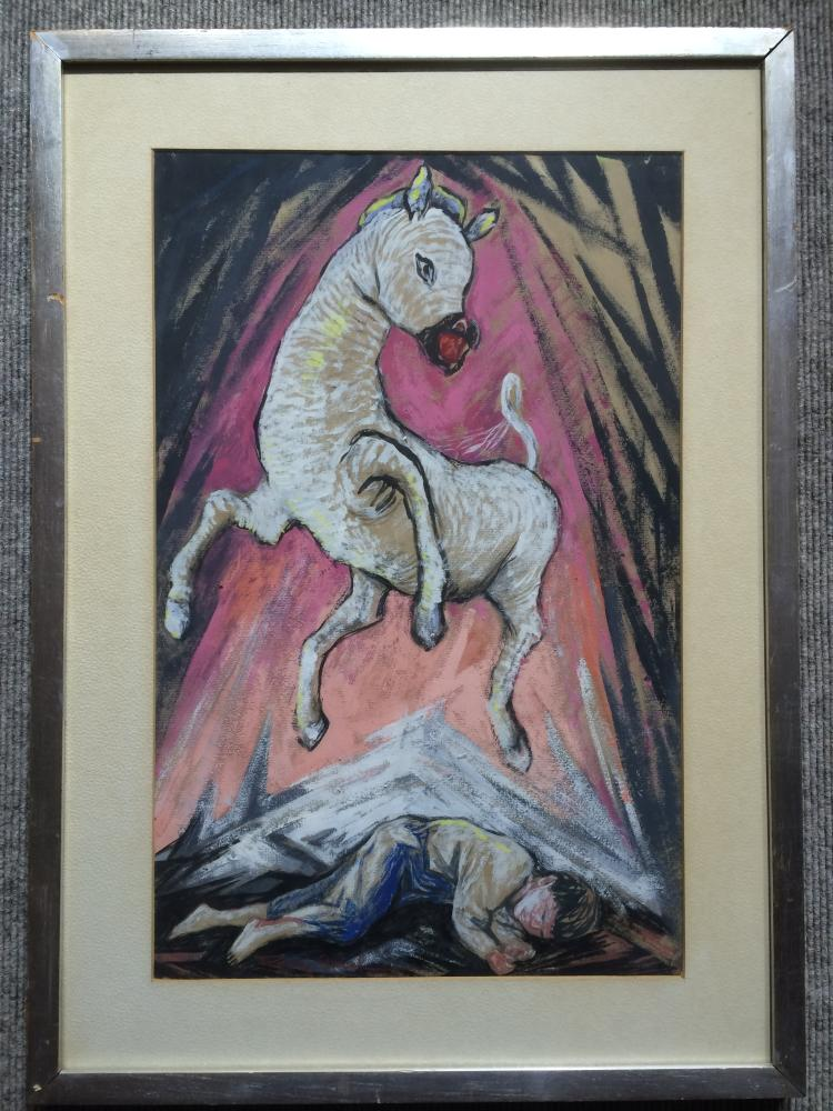 Gouache of boy and horse by Fanny Rabel, assistant to Diego Rivera