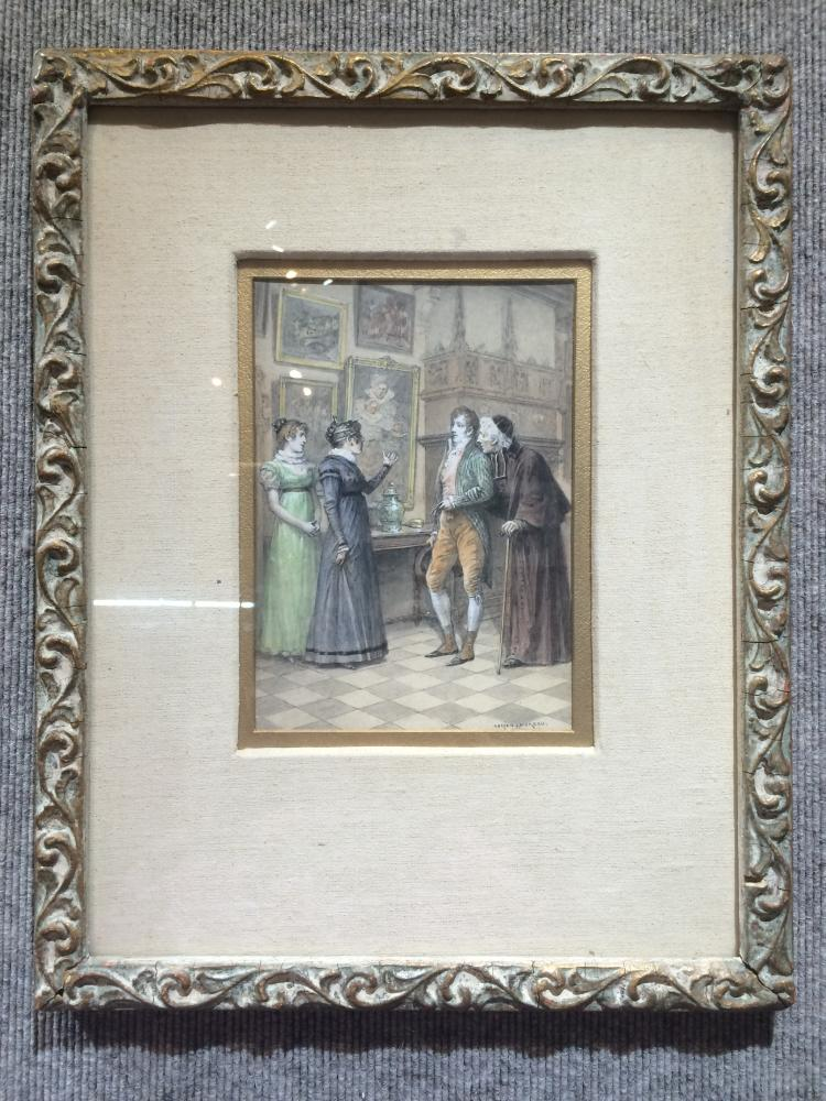 Watercolor of Art Museum visitors by Adrien Moreau, c.1900-Christies label