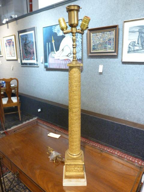 Gilt bronze Trajan's Column lamp-Ambassador, circa 1880