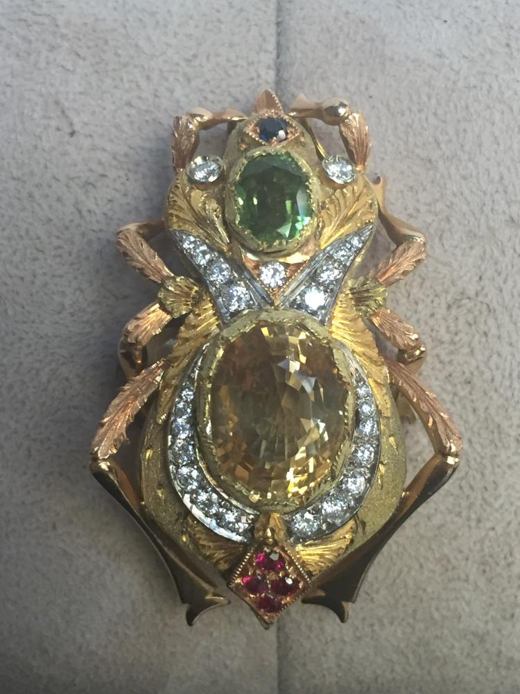 18k, ruby, sapphire and diamond insect pin, c.1970, Perugini-Ambassador Estate