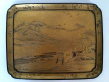 Japanese gold lacquer tray, c.1880