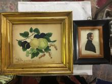 Box lot-Two 19th cen. American watercolor miniatures