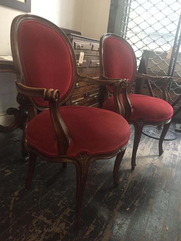Pair upholstered chairs, Ambassador Estate