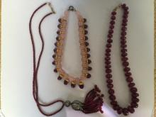Box Lot-Three ruby necklaces