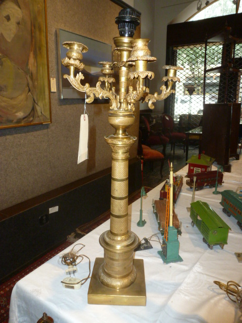 Gilt bronze candelabra lamp-Ambassador