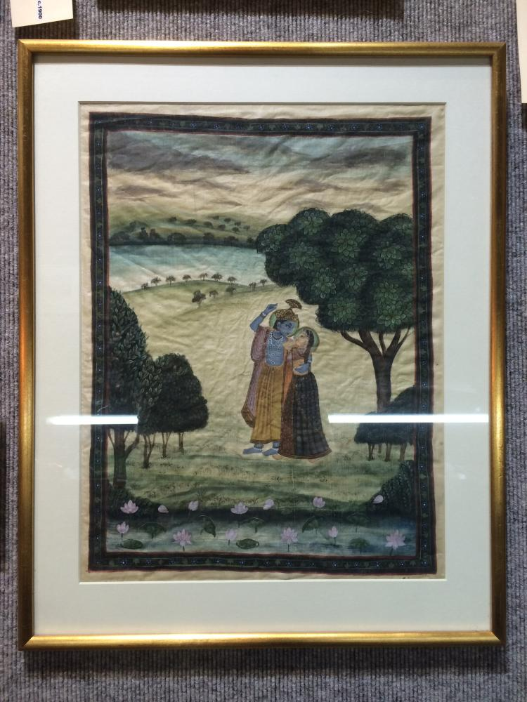 Indian watercolor, two people in the woods