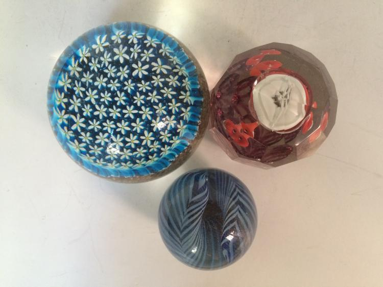 Case lot- Three glass paperweights