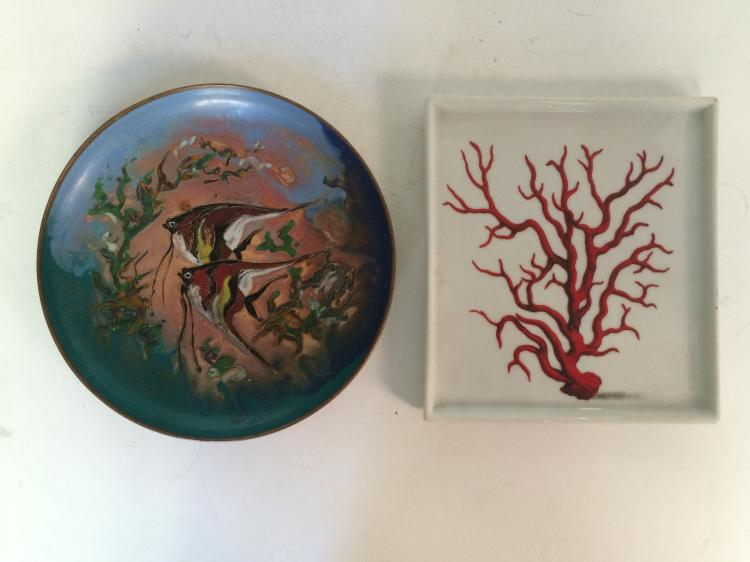 Case lot-Enamel fish plate and Paris coral dish