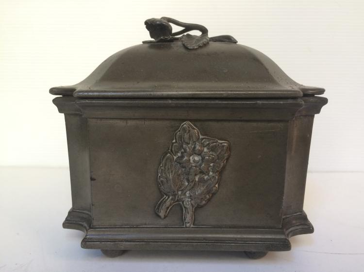Early pewter box, c.1880