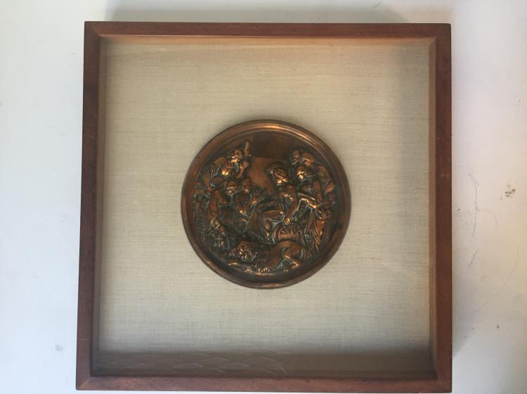 Framed metal medallion-Classical