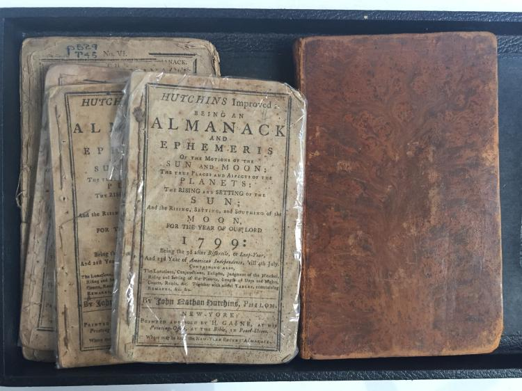 Box lot-18th century almanacs and book