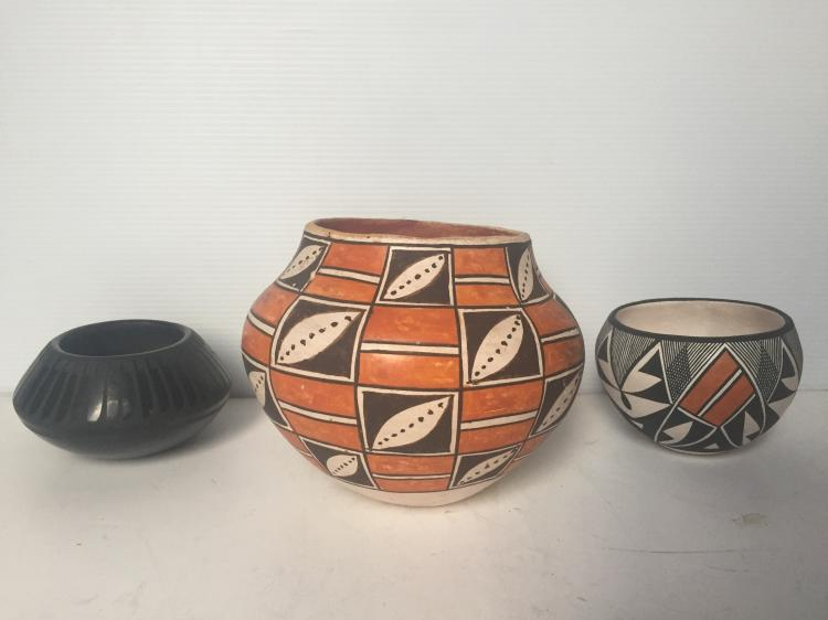 Box lot-Three pieces of Pueblo pottery