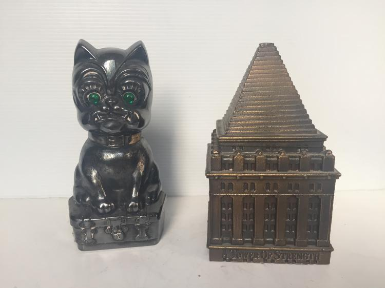 Two novelty banks-cat and building
