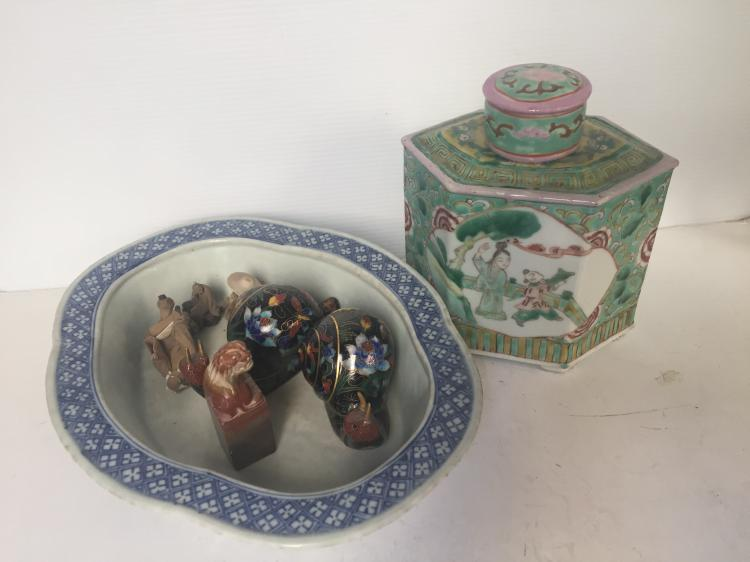Box lot-miscellaneous Chinese items