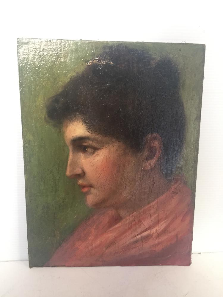 Box lot-Painting of a woman, 19th cen