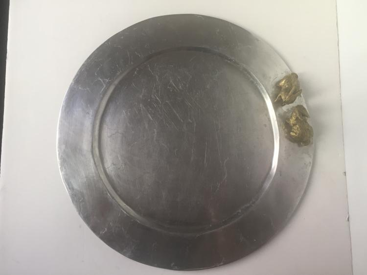 Pewter rabbit dish-modern