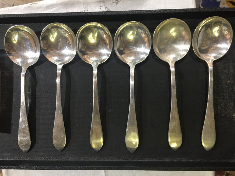 Box lot-Six Cartier sterling spoons, 11.5 t. oz
