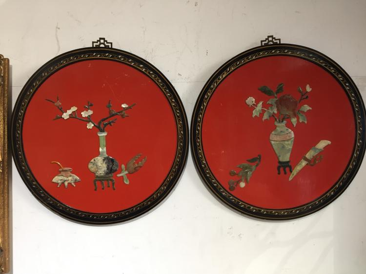 Pair of jade and lacquer Chinatown plaques
