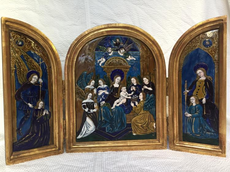 Enamel on copper triptych, c.1800-1900-signed