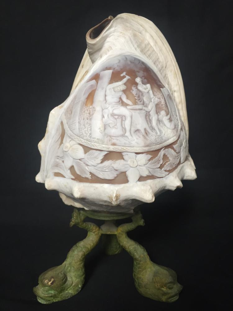 Carved conch shell cameo-Classical theme, c.1900