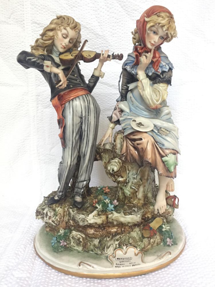 Porcelain group-violinist and girl