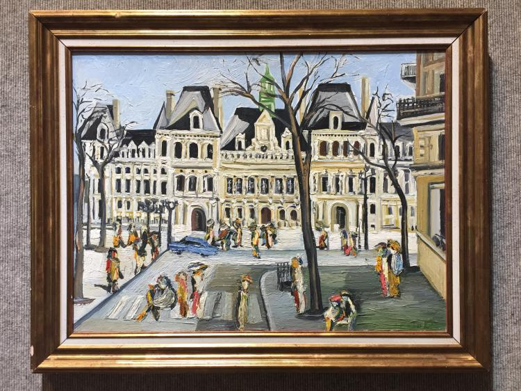Painting of Paris street-signed indistinctly lower right corner