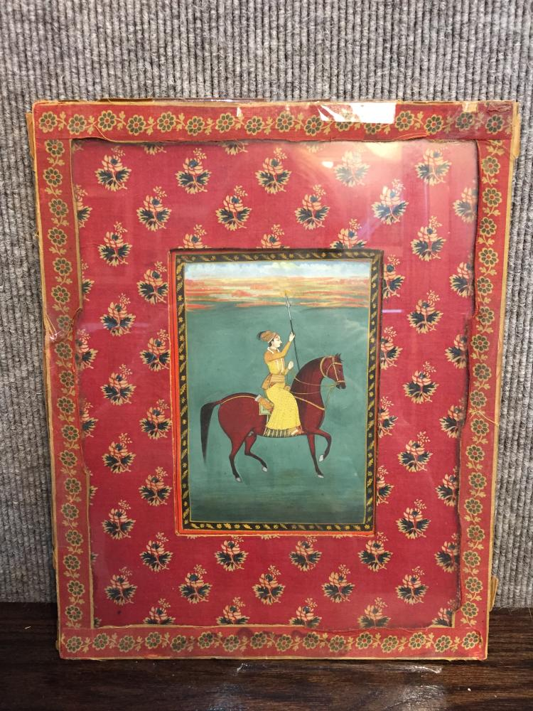Indian miniature of man on horse, Fallaci