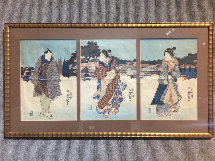 Triptych by Toyokuni II, c.1850