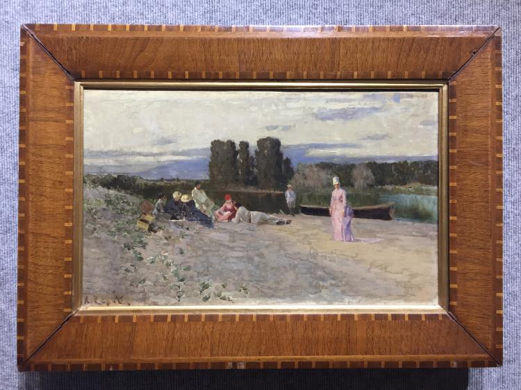 Painting of figures by river by Konstantin A. Korovin-Ambassador Estate