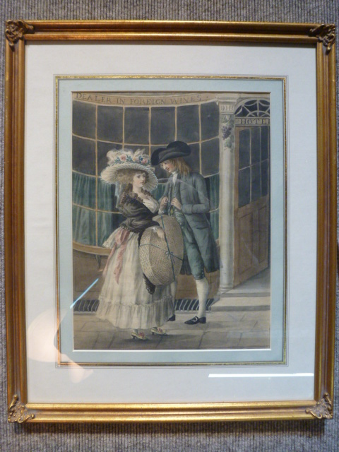 Pair of 18th century watercolors of village life- one with wine store