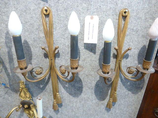Pair of brass sconces, Neoclassical design, c.1950