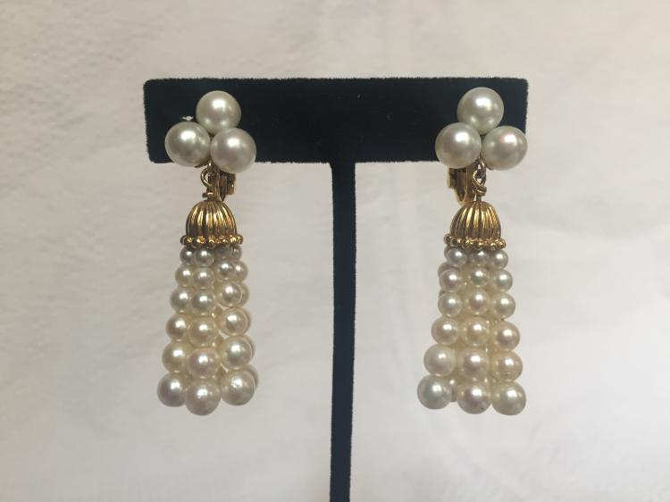 18k chandelier pearl earrings, circa 1950, 16.0 dwts