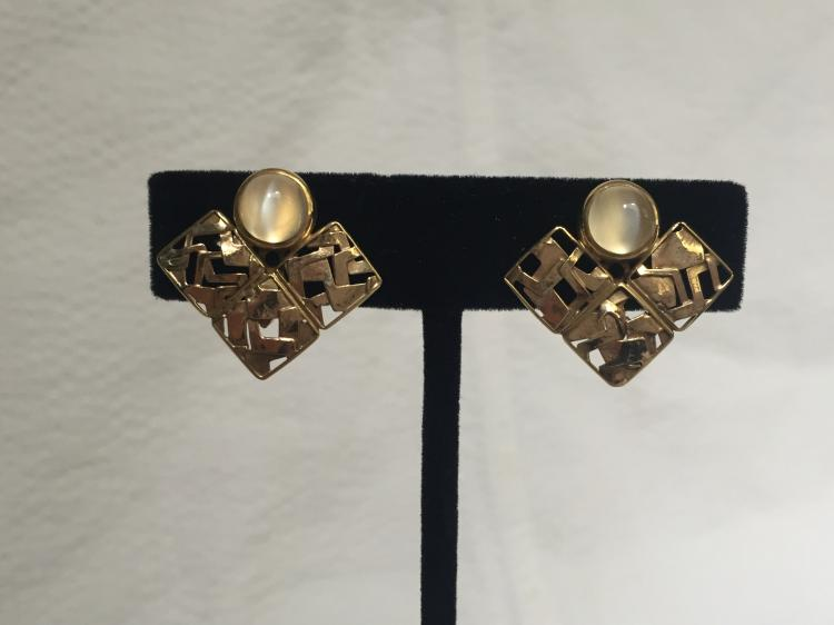 18k gold earrings with cat's eye chalcedony, or moonstone, 4.5 dwts