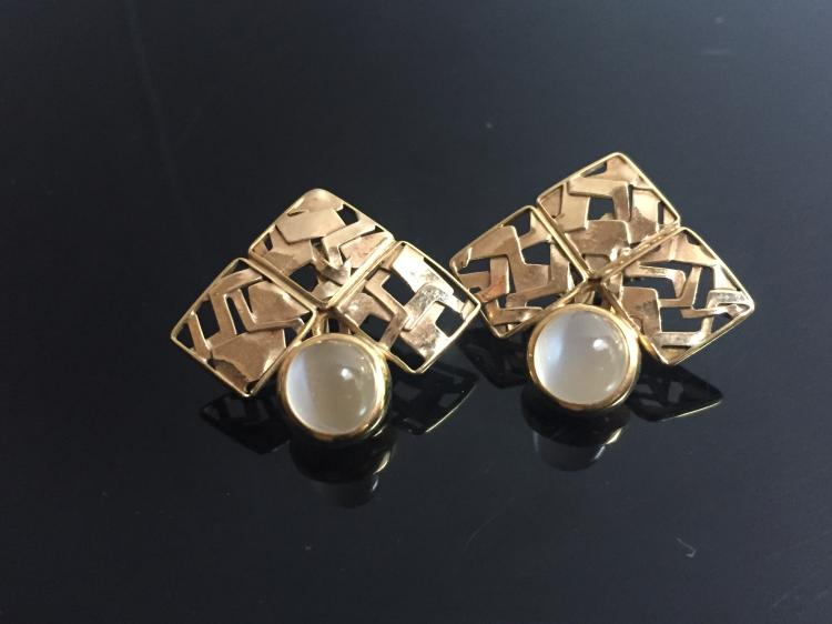 18k gold earrings with cat s eye chalcedony or moonstone 4 for Cat s eye moonstone jewelry