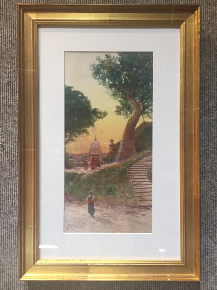 Italian watercolor of Rome, signed, c.1900