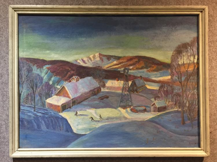 Large painting of farm in snow by Earl Boley