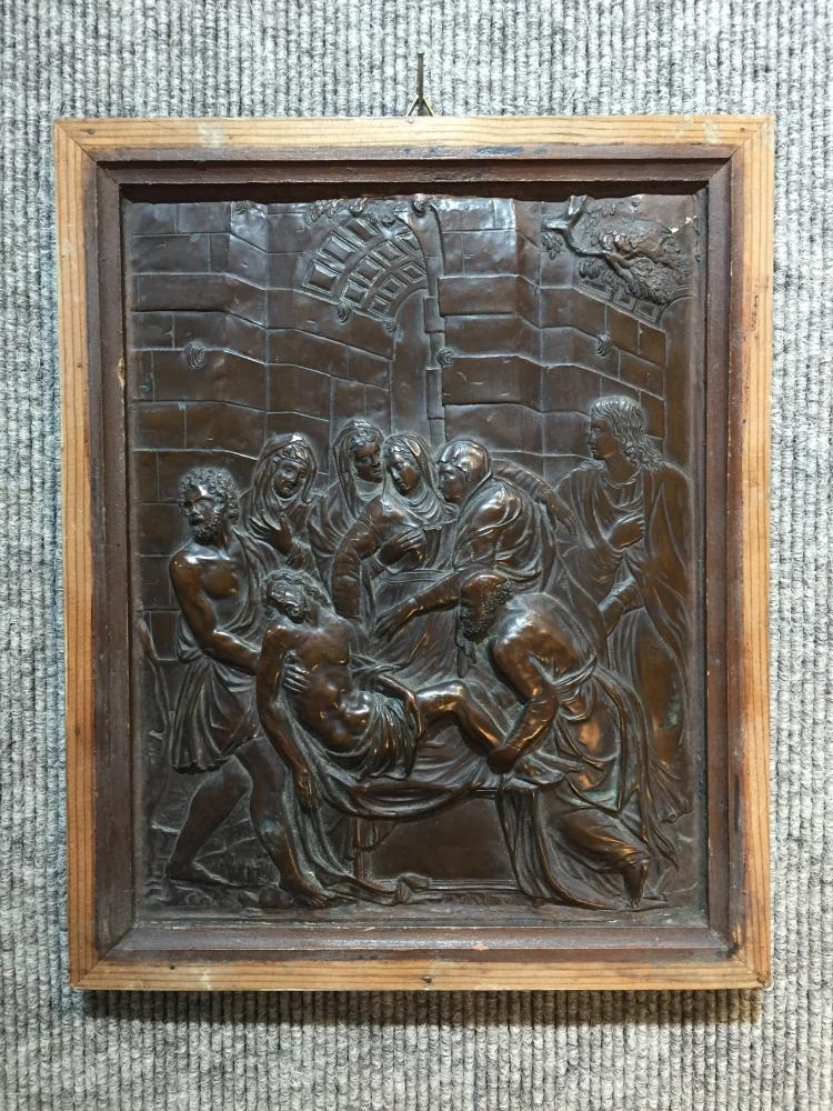 Bronze or copper plaque of the Entombment, c.1900