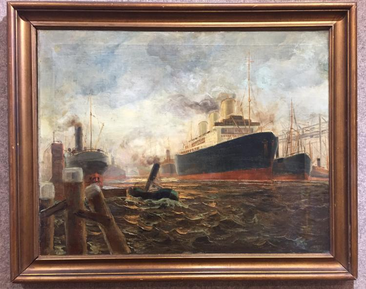 Painting of ships by William Brigl, c.1900
