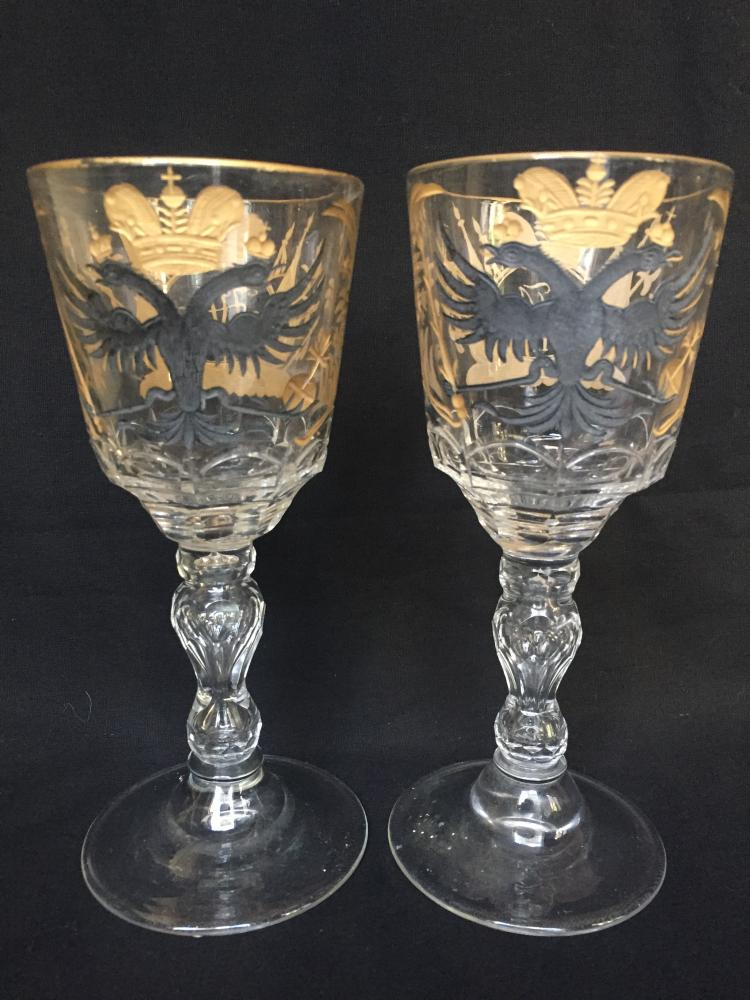 Two wine glasses: Czar Nicholas II, c.1900