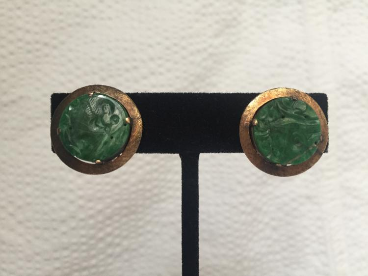 14k and jade clip earrings, 4.8 dwts