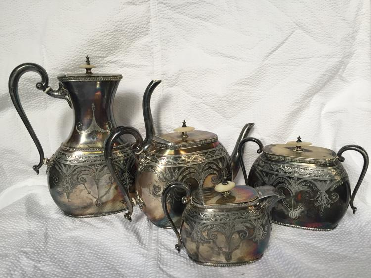 Silverplated coffee and tea set, c,1880