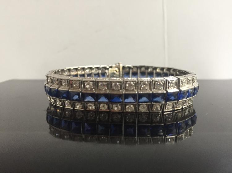 Platinum, sapphire and diamond bracelet, c1920, 16.4 dwts, marked