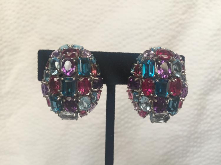 18k white gold multi-stone earrings, 20.7 dwts