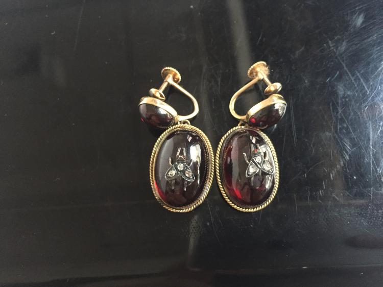 14k Garnet and diamond insect earrings, c.1890, 8.6 dwts