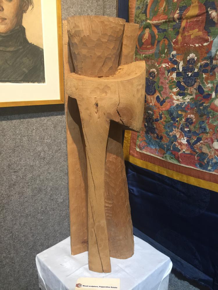 Wood sculpture, Pepperdine Estate