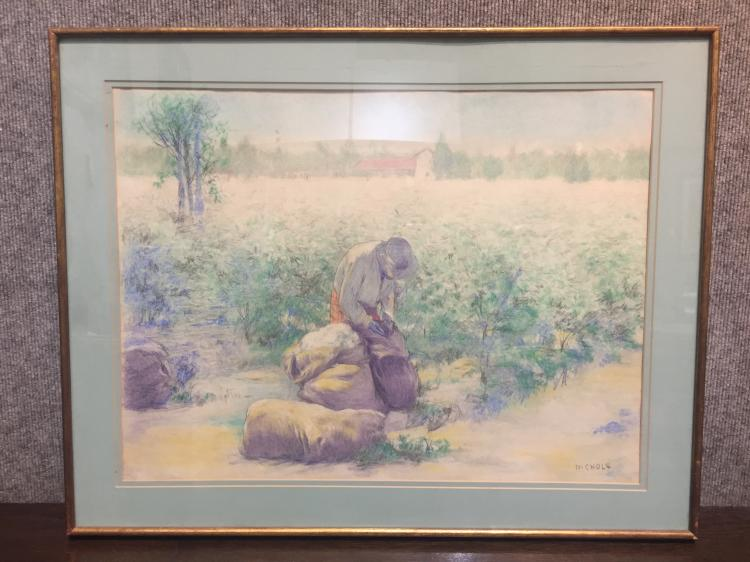 Colored crayon drawing of farmers by Nichols