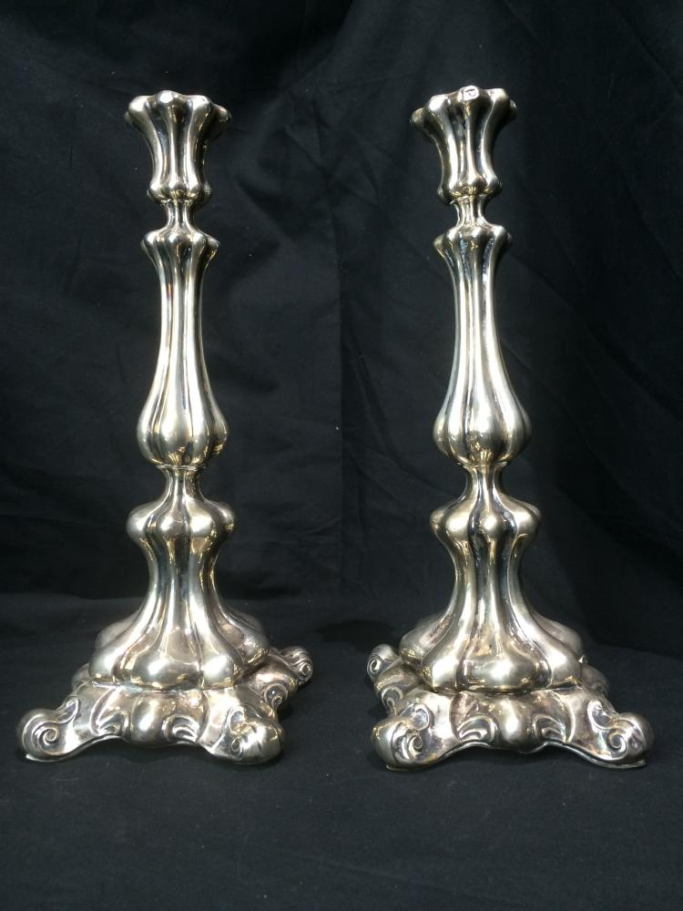 Pair of German or Austrian silver candlesticks, 20 t. oz