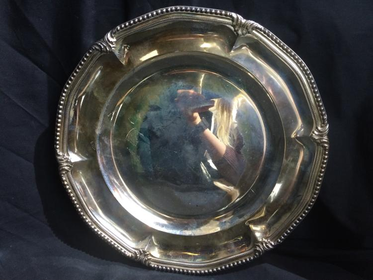 French sterling hammered tray-Ambassador, 36.4 t. oz