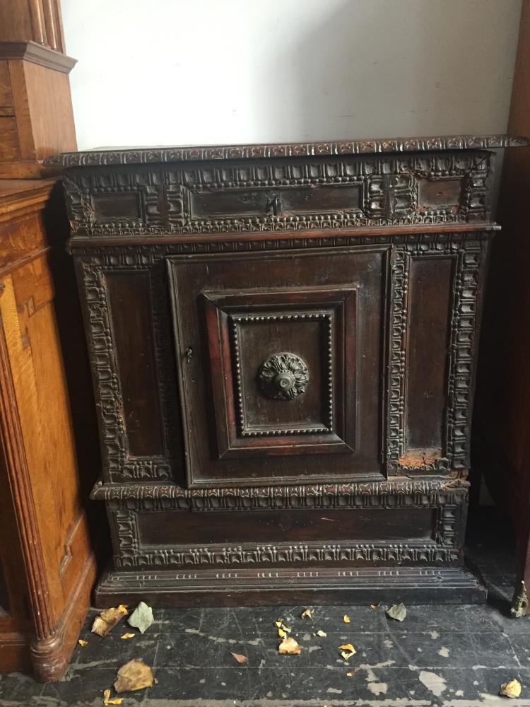 17th century small cabinet with door-as is