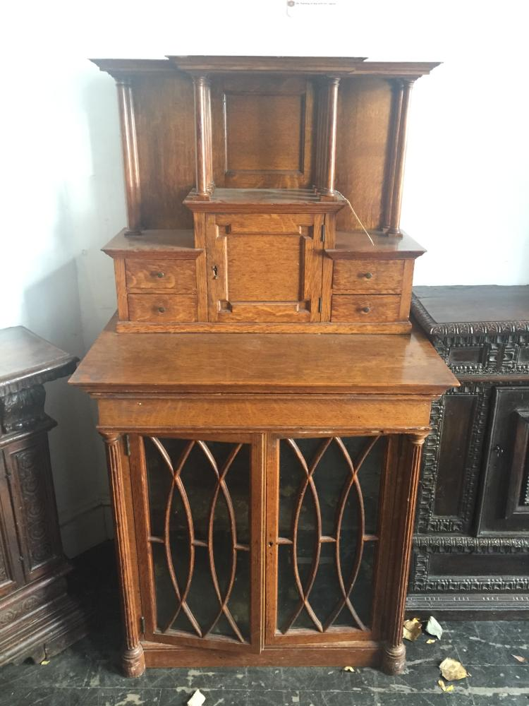 Oak cabinet with classical columns, c.1900